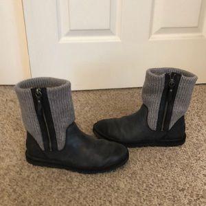 Ugg Grey leather Knit Lyza short sheepskin boots 8